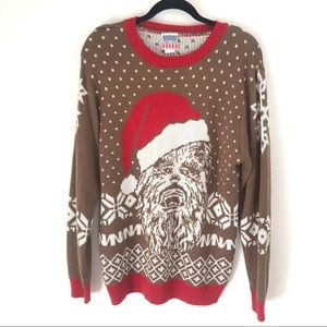 Junk Food Chewbacca Ugly Christmas Sweater Brown L